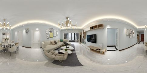 珠海优雅大气现代简约风格三室装修效果图
