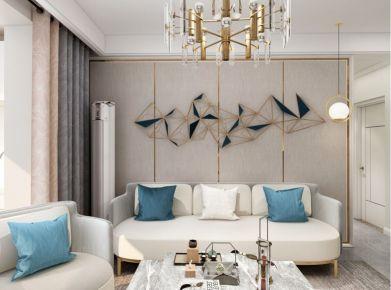 太原晋阳龙城苑81㎡两室现代轻奢风装修,金属色和线条感打造优雅空间