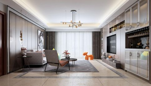 南京現代混搭風四居室裝修效果圖,風格獨特有質感!