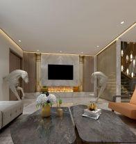 福州質感十足的現代輕奢風格別墅裝修案例圖