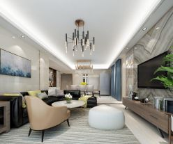 中山現代輕奢三居室裝修效果圖,高端大氣有格調