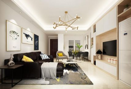中山現代簡約風格三室裝修效果圖案例展示