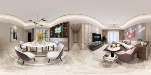 中山时尚轻奢现代风格三居装修效果图展示