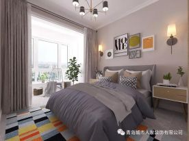 青岛华融望海北欧风格三居室装修效果图