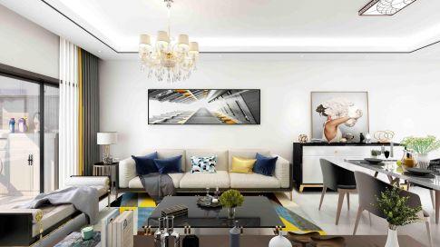 【深度空间】惠州摩卡小镇88㎡现代风格三室装修效果图