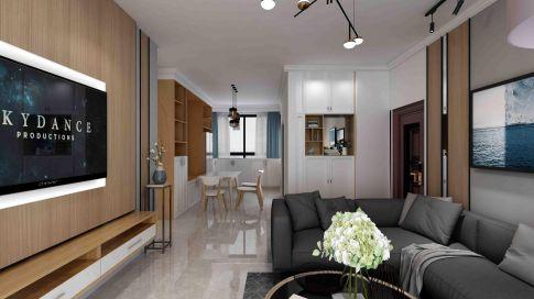【深度空间】惠州鼎峰国汇山108㎡现代风格三室装修案例图