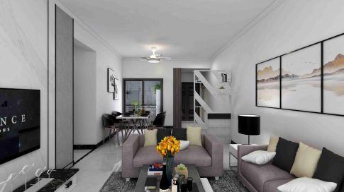 【深度空間】惠州海倫堡海倫時光花園,93㎡現代風格三居室裝修效果圖