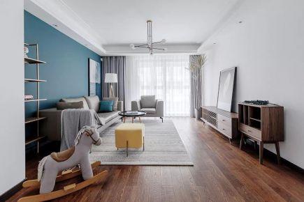 太原120㎡现代简约装修,简单空间一抹蓝,安静舒适的质感
