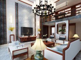 福州古典雅致新中式风格风格复式装修效果图