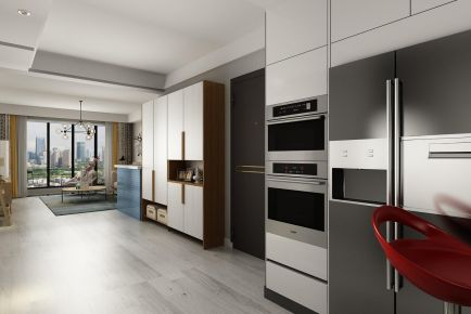 青岛盛业小区时尚现代简约两居室装修效果图
