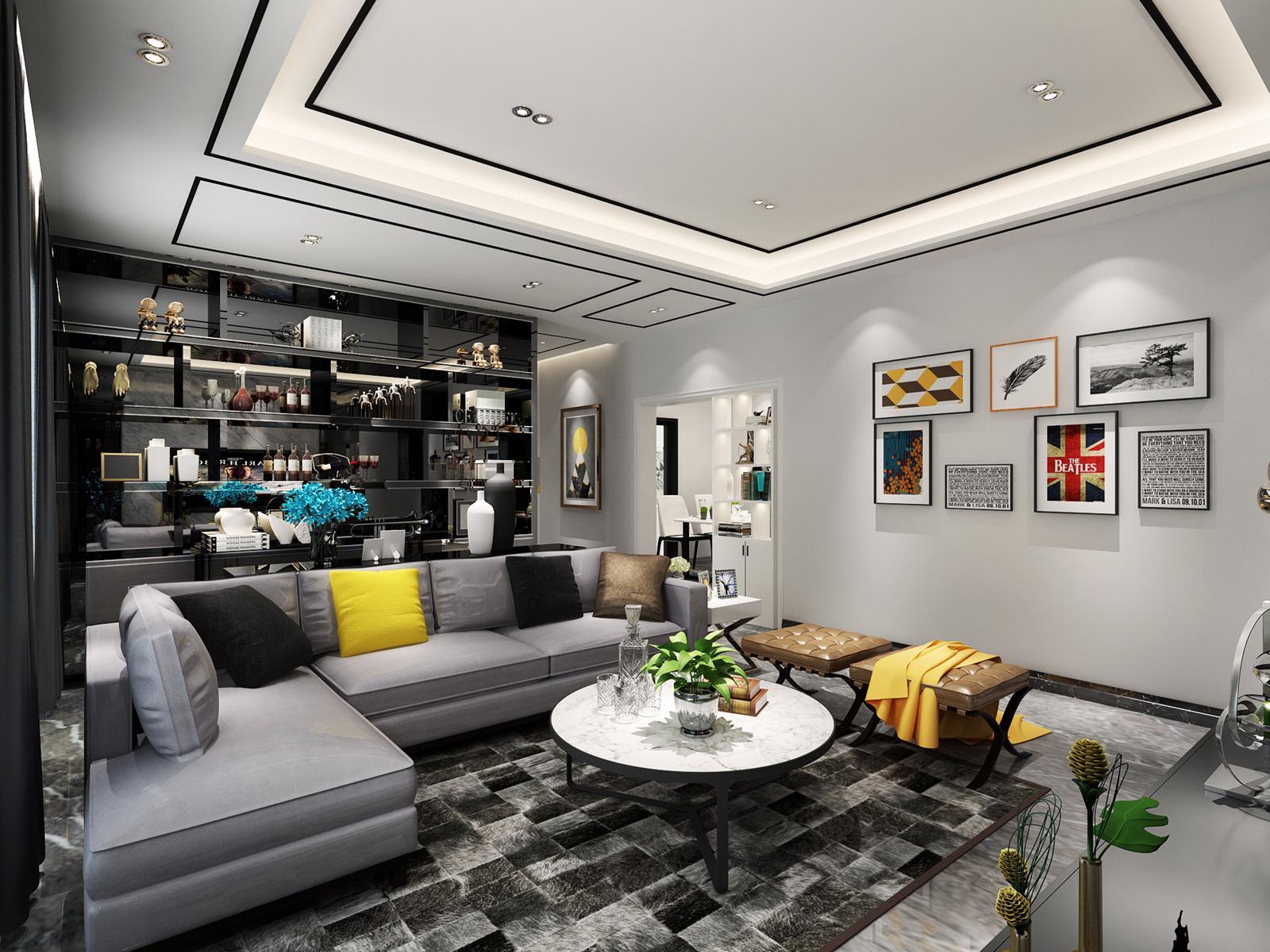 深圳時尚簡約風格三居裝修,黑色元素的裝飾,很具時尚感!