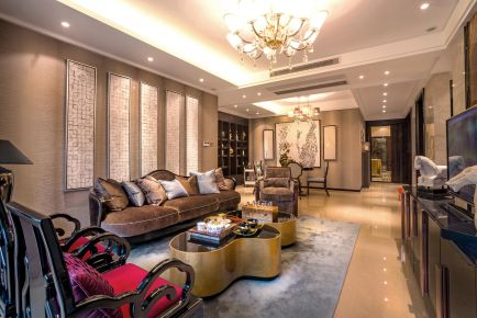 深圳古典新中式風格四居室裝修效果圖展示