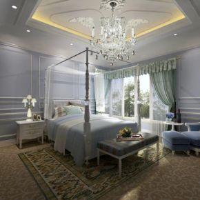 杭州浪漫優雅法式風格四居室裝修效果圖