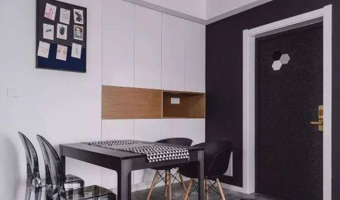 太原113㎡酷黑木色三居室裝修,現代質感空間