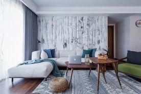 太原110㎡清雅北欧三居装修,沙发背景墙太美了