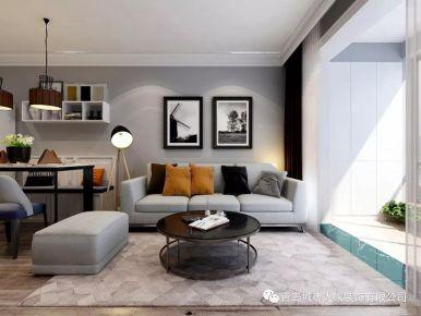 青岛依山伴城现代简约二居室装修效果图