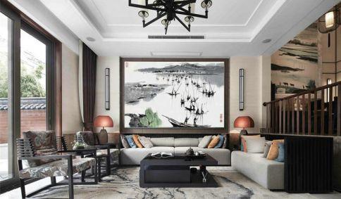 青島智慧之城三居室新中式裝修效果圖
