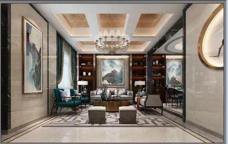 苏州雅致轻奢新中式风格别墅装修案例效果图