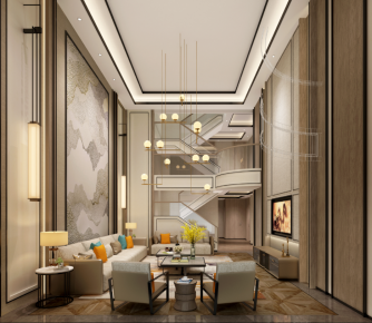 福州華僑城輕奢新中式風格別墅裝修效果圖