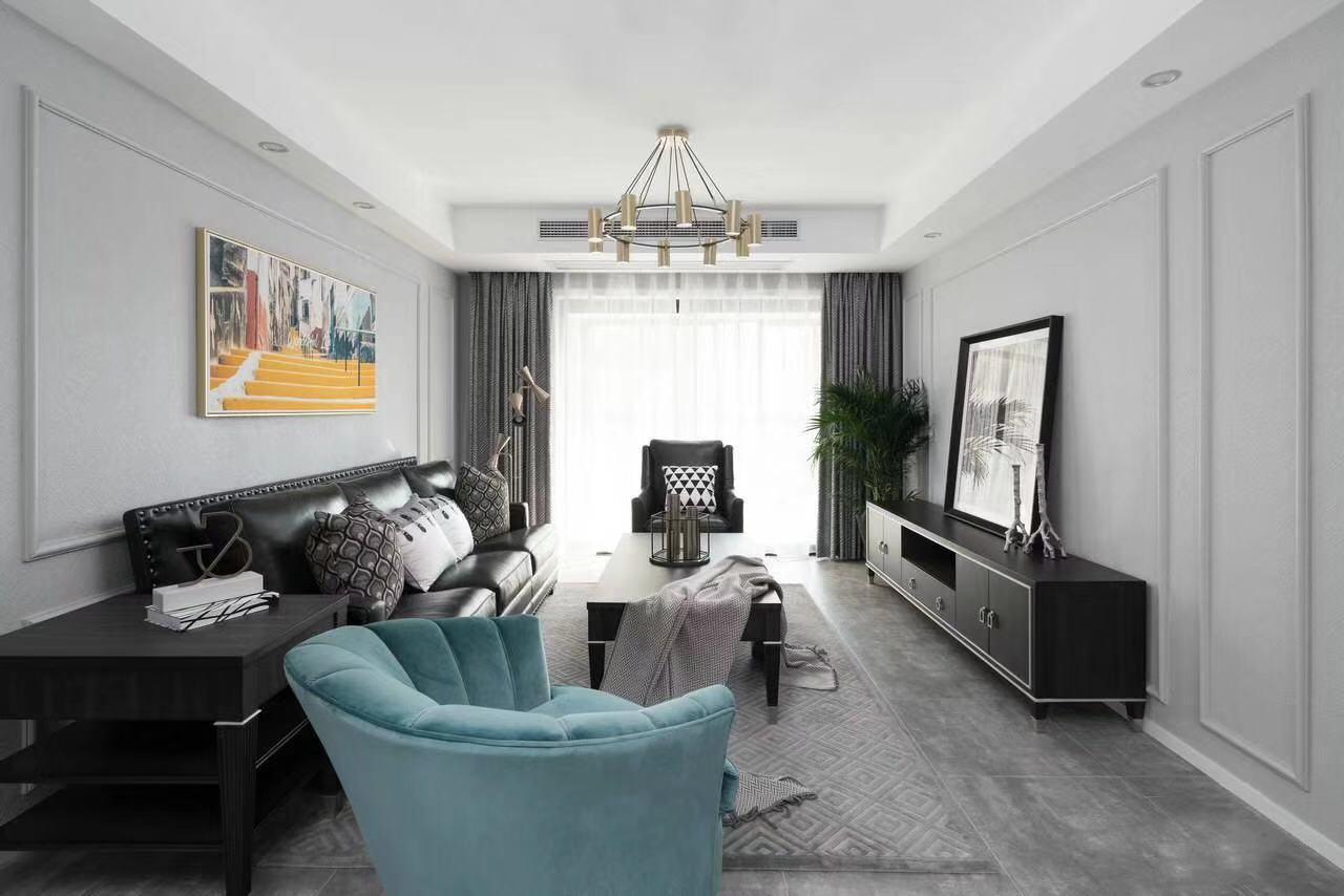 南通黑白灰經典現代三居裝修效果圖