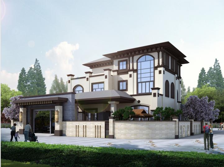 中山古典雅致新中式風格別墅裝修案例