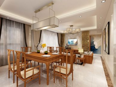 新中式三居室装修设计案例,安静优雅,古典端庄