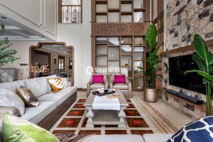 重慶保利山莊獨棟別墅美式混搭風格裝修案例
