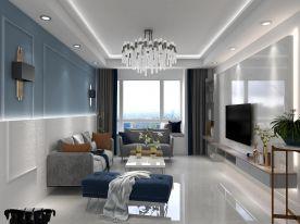 现代风格优雅湛蓝三居室装修