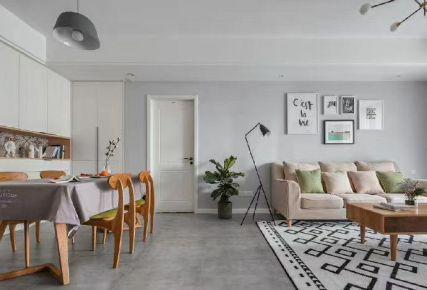 石家庄紫苹果装饰幸福城80平三室两厅北欧简约案例图
