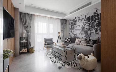 室内面积60平,原木风+黑白灰设计