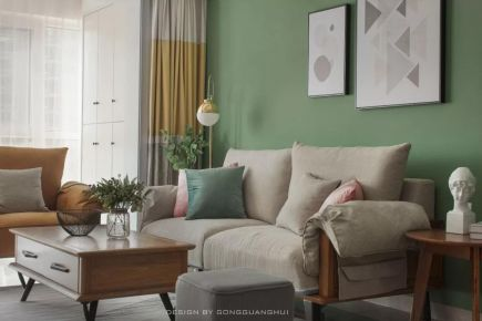 95后美女的100平北欧风格家,文艺清新,抹茶绿沙发墙气质十足!