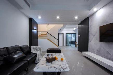 180㎡现代风小别墅装修效果图大全,黑色皮沙发布置,简约的空间,瞬间显高级