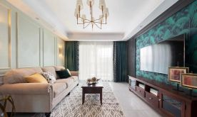 97㎡现代美式风格新房装修,背景墙复古细腻!