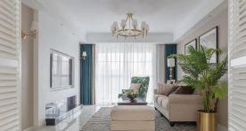 140㎡现代美式风格新房装修,电视背景墙干净利落!