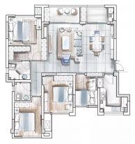 美式轻奢风格三居室装修案例