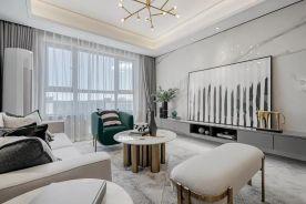 90㎡现代轻奢风格新房装修,大理石电视背景墙高级!