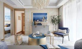 轻奢风设计,提取海洋中的静谧蓝,打造纯净自然之家