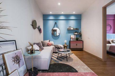 粉色现代风小公寓装修设计,唤醒你的少女心