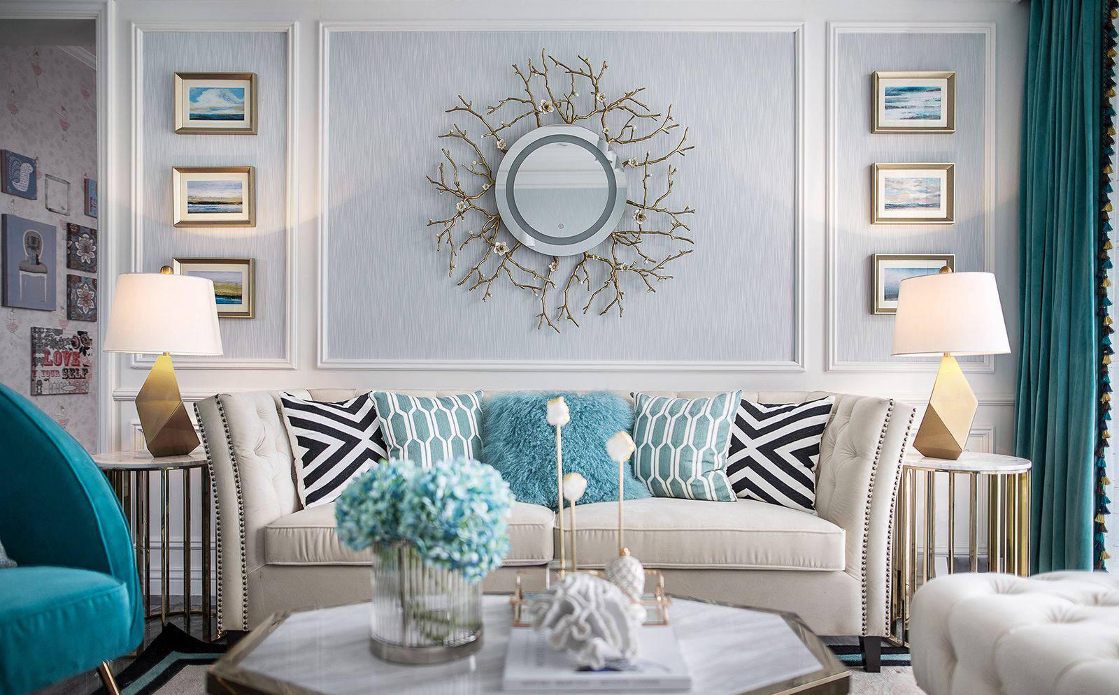 简欧风格,蓝白色高雅格调的精致住宅