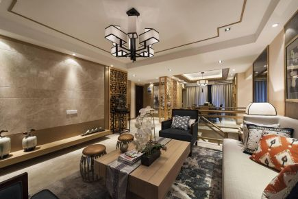 新中式风格装修,对称式设计,静雅端庄,质感十足