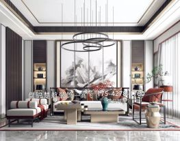 盘锦装修公司楚航装饰新中式客厅装修设计方案大全17542781760