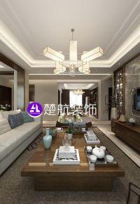 盘锦楚航装饰《水晶别院》200平新中式风格装修效果图