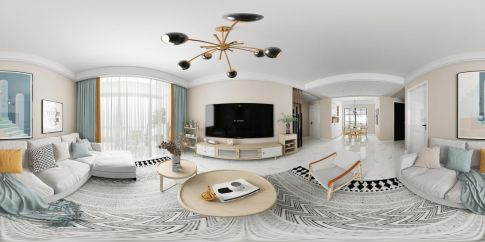 天玺城117㎡现代风格三居室全景效果图,简约却不简单