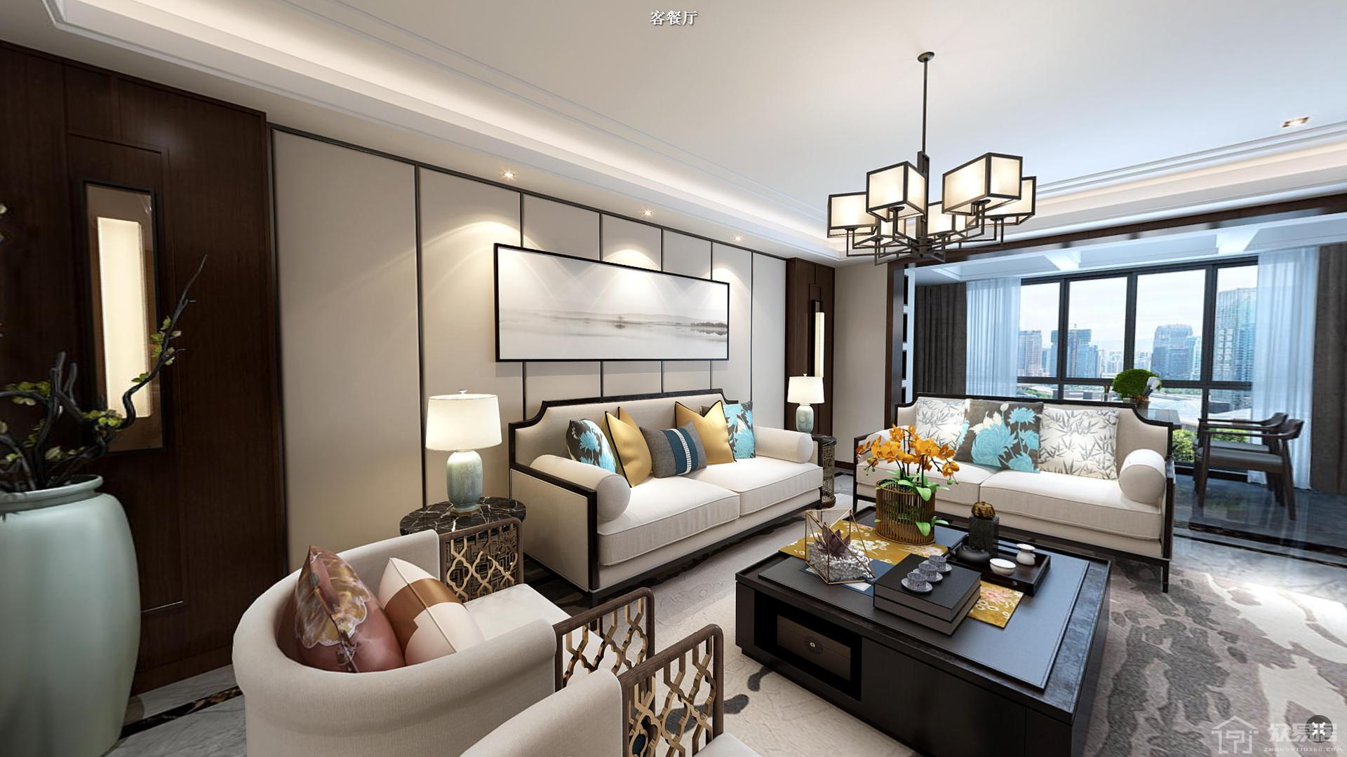 温州万达新中式风格四居室装修效果图