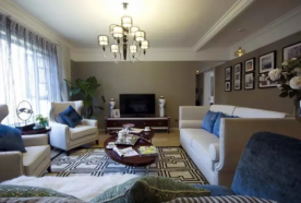现代美式风格130平三居室装修