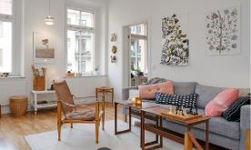 54平米樱花粉两居装修 54平宁静阳光宅北欧家居装修设计效果图欣赏