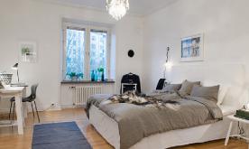 华丽红房子里的70平米白色公寓装修 70平白色北欧范装修设计效果图欣赏
