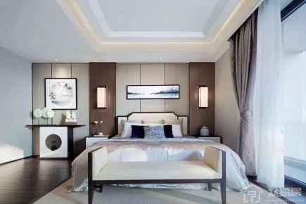 扬州新中式风格三房装修设计效果图 中海玺园