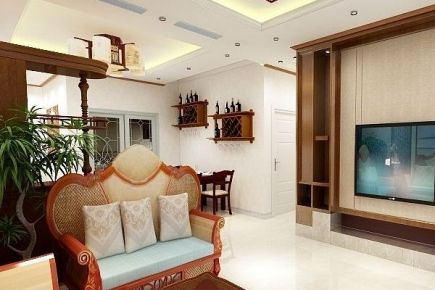 中山岭汇铭轩中式两居室装修效果图