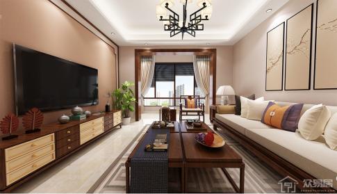 海口盛贤景都中式两居室装修效果图